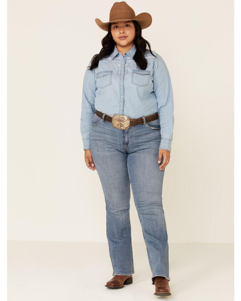 Ariat Women's Indigo R.E.A.L. Fierce Long Sleeve Shirt - Plus, Blue, hi-res