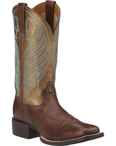 Ariat Women's Round Up Cowgirl Boots -Square Toe, Dark Brown, hi-res