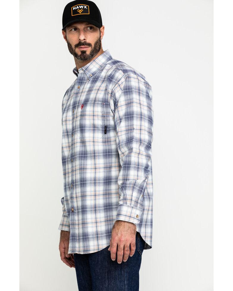 Ariat Men's FR White Foraker Plaid Long Sleeve Work Shirt , White, hi-res
