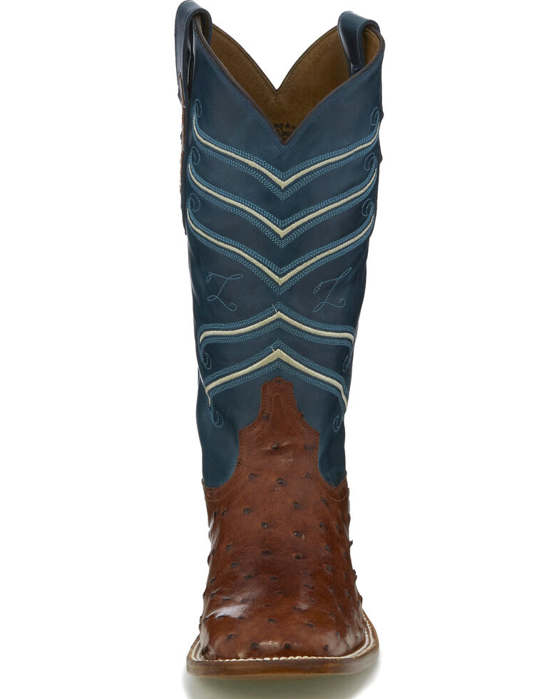 Tony Lama Men S Brown Blue Full Quill Ostrich Cowboy Boots