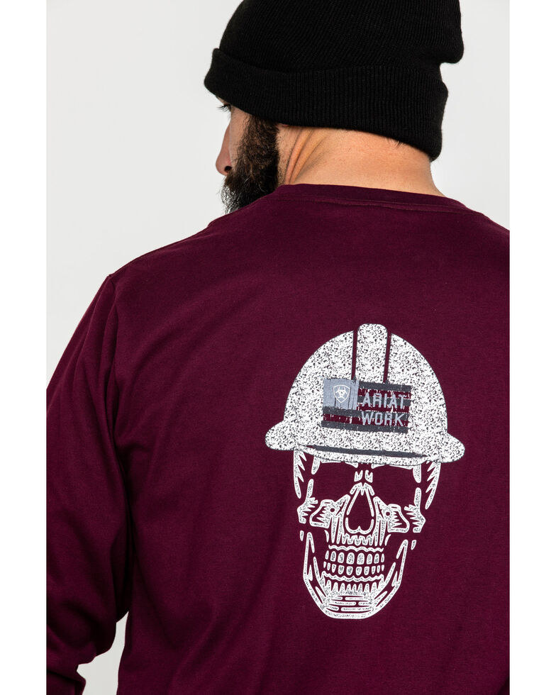 Ariat Men's Red FR Roughneck Skull Logo Crew Long Sleeve Work T-Shirt , Red, hi-res
