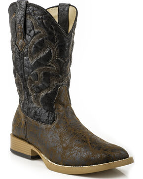 Roper Men's Distressed Broad Square Toe Western Boots, Black, hi-res