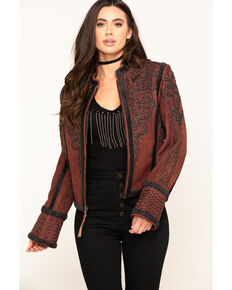 Double D Ranchwear Women's Oxblood Plaza Charro Jacket, Red, hi-res