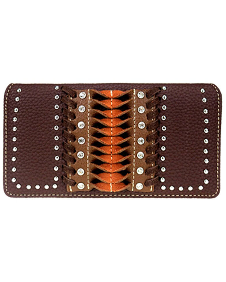 Montana West Women's Pink Stitch Wallet, Dark Brown, hi-res
