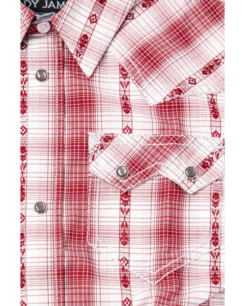 Cody James Boys' Rodeo Rider Dobby Plaid Short Sleeve Western Shirt , Red, hi-res