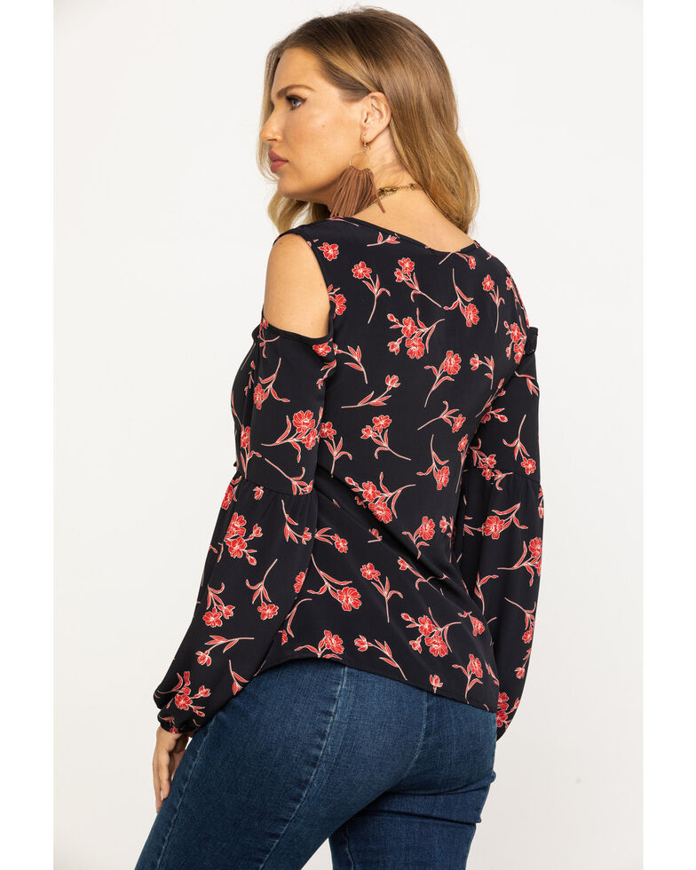 Nikki Erin Women's Black & Red Floral Cold Shoulder Top, Black, hi-res
