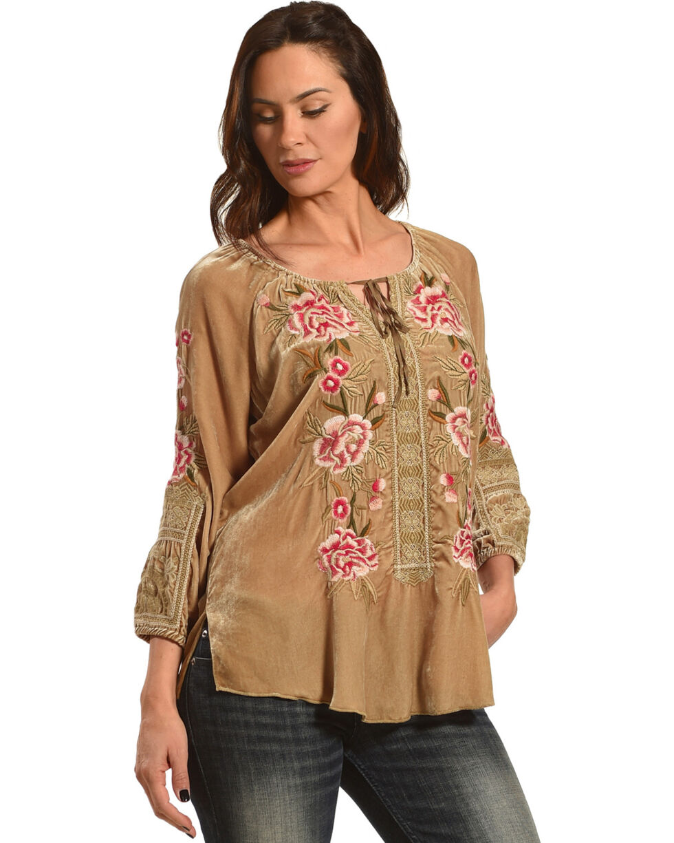 Johnny Was Women's Champagne Leith Velvet Peasant Blouse , Beige/khaki, hi-res