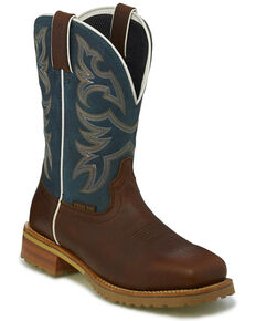 Justin Men's Marshal Waterproof Western Work Boots - Steel Toe, Cognac, hi-res