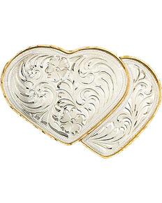 Western Express Women's German Silver Double Heart Belt Buckle , Silver, hi-res
