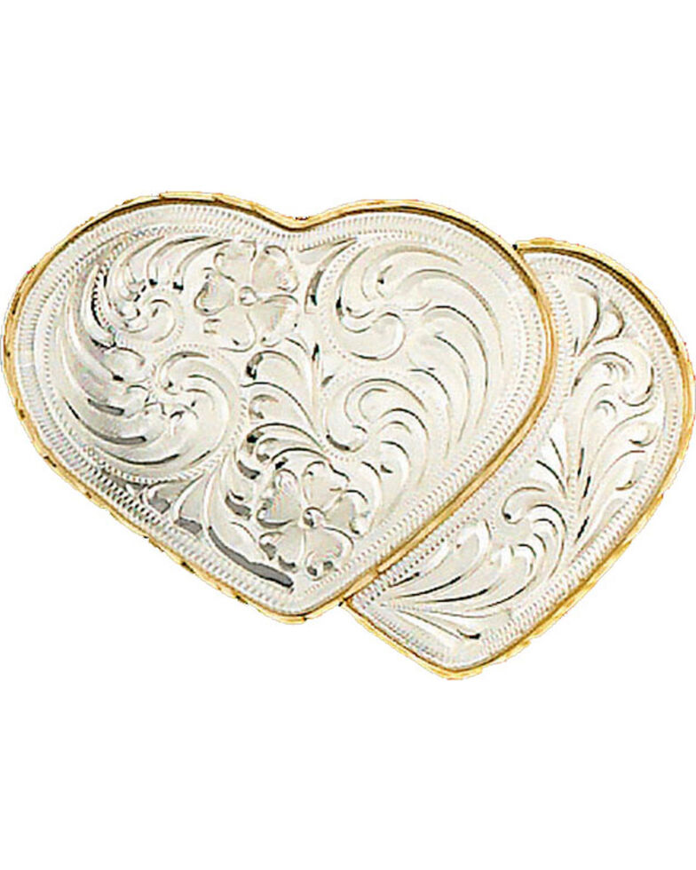 Western Express Women's German Silver Double Heart Belt Buckle , Silver, hi-res