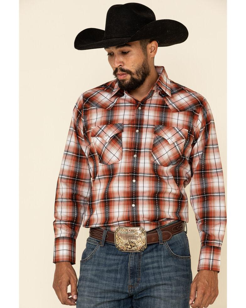 Ely Cattleman Men's Rust Dobby Plaid Long Sleeve Western Shirt - Big , Rust Copper, hi-res