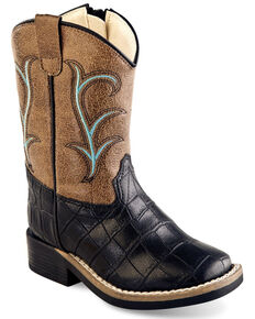 Old West Boys' Faux Leather Western Boots - Wide Square Toe, Multi, hi-res