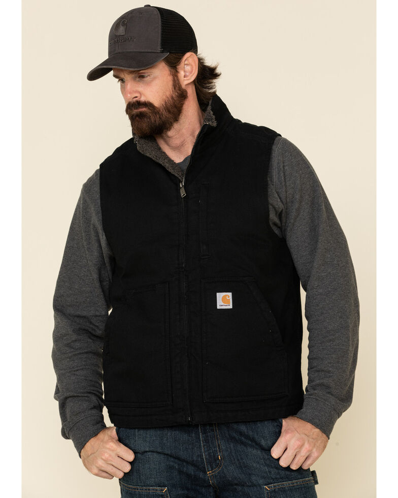 Carhartt Men's Black Washed Duck Sherpa Lined Mock Neck Work Vest - Big , Black, hi-res