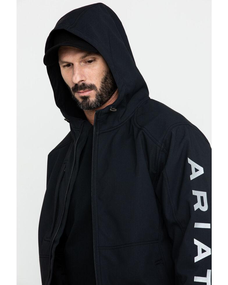 Ariat Men's Black Rebar Stretch Canvas Softshell Hooded Logo Work Jacket - Big & Tall , Black, hi-res