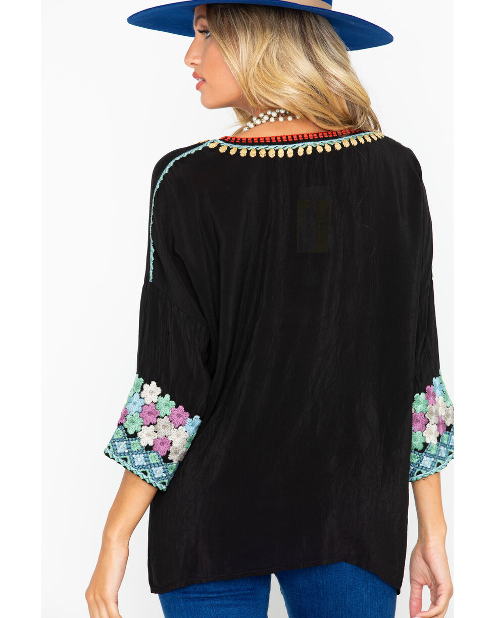 Johnny Was Women's Embroidered Merielle Blouse, Black, hi-res