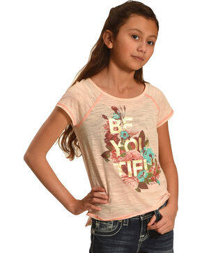 Miss Me Girls' Pink Floral Graphic Tee , Pink, hi-res