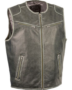 Milwaukee Leather Men's Vintage Distressed Zipper Front Vest - Big - 4X, Grey, hi-res