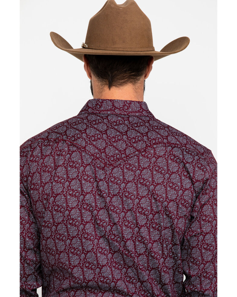 Cody James Men's Gunslinger Paisley Print Long Sleeve Western Shirt , Maroon, hi-res