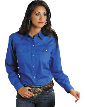 Roper Women's Amarillo Solid Pearl Snap Western Shirt, Royal, hi-res