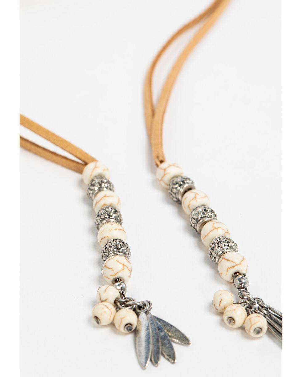 Shyanne Women's White Howlite Tan Fringe Choker & Bolo Tie, Silver, hi-res