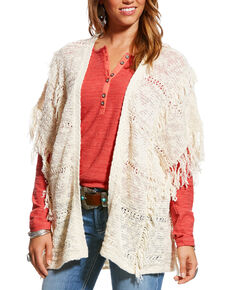 Ariat Women's Wrap It Up Fringe Dolman Sweater Cardigan, Oatmeal, hi-res