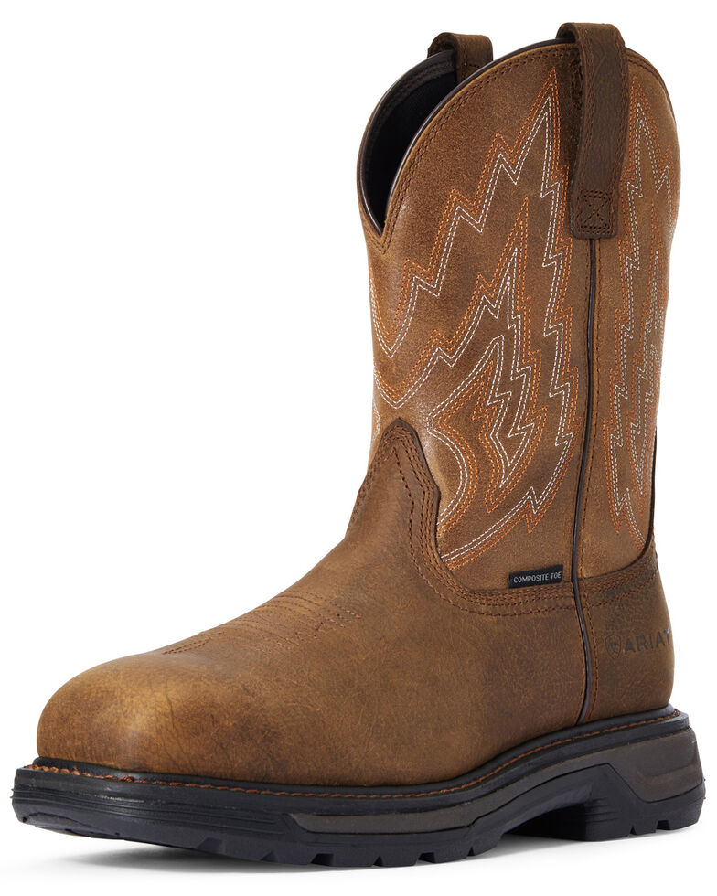 Ariat Men's Rye Big Rig Western Work Boots - Composite Toe, Brown, hi-res