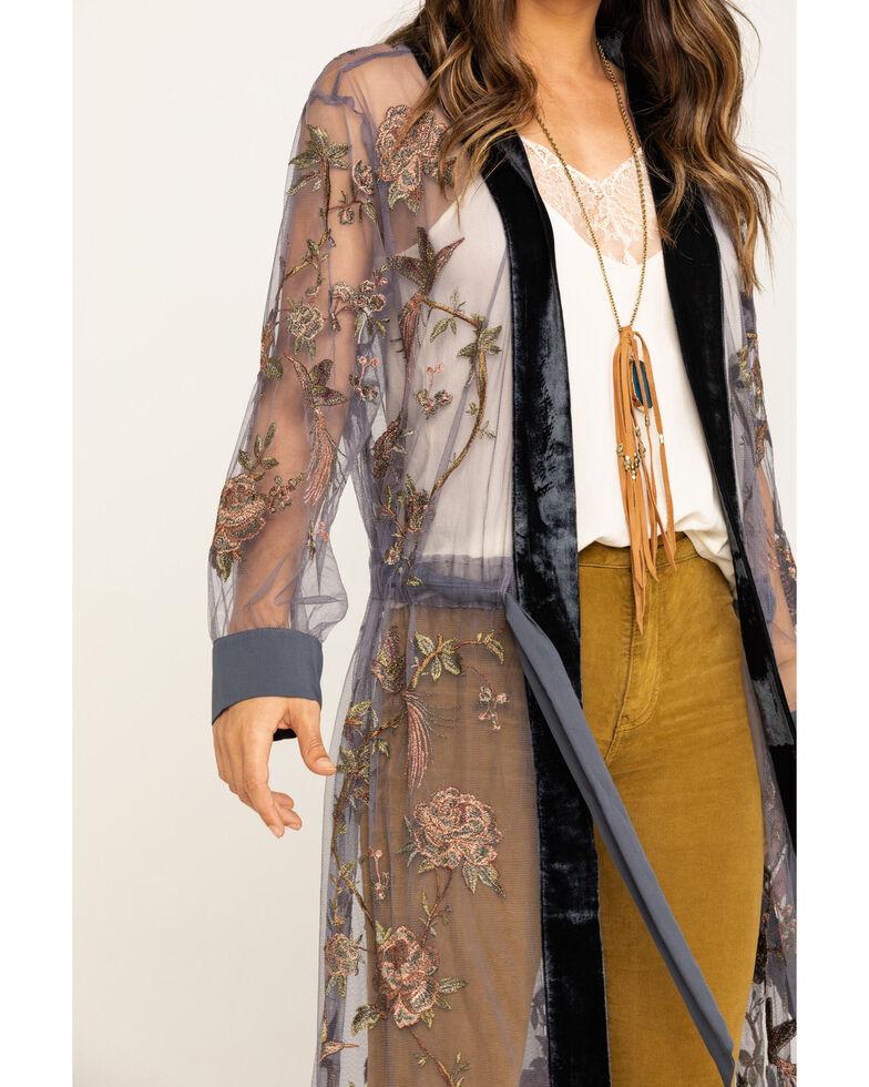 Aratta Women's Charcoal Embroidered Kimono, Charcoal, hi-res