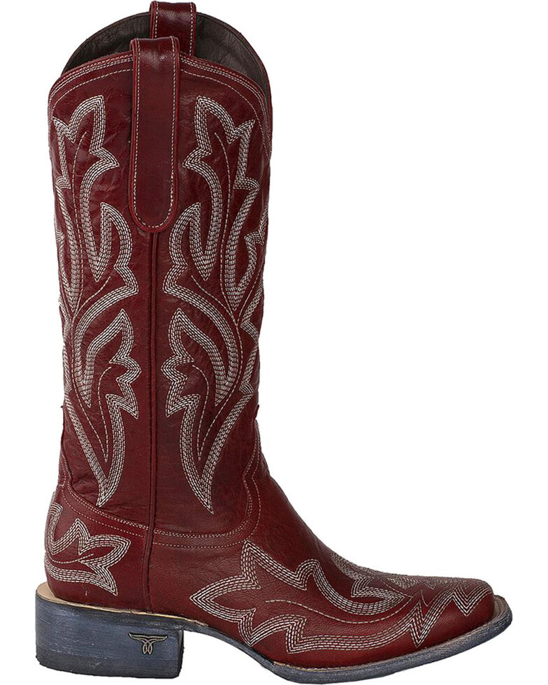 0a57411bf1e Lane Women's Saratoga Red Fancy Stitch Cowgirl Boots - Square Toe