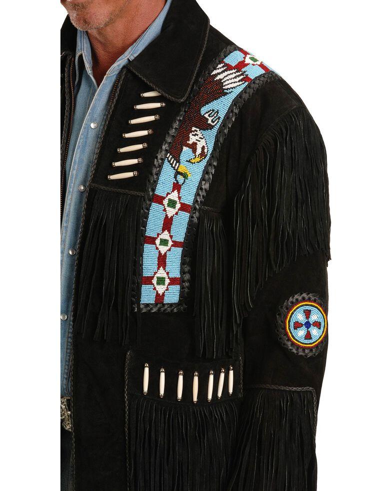 Liberty Wear Eagle Bead Fringed Suede Leather Jacket, Black, hi-res