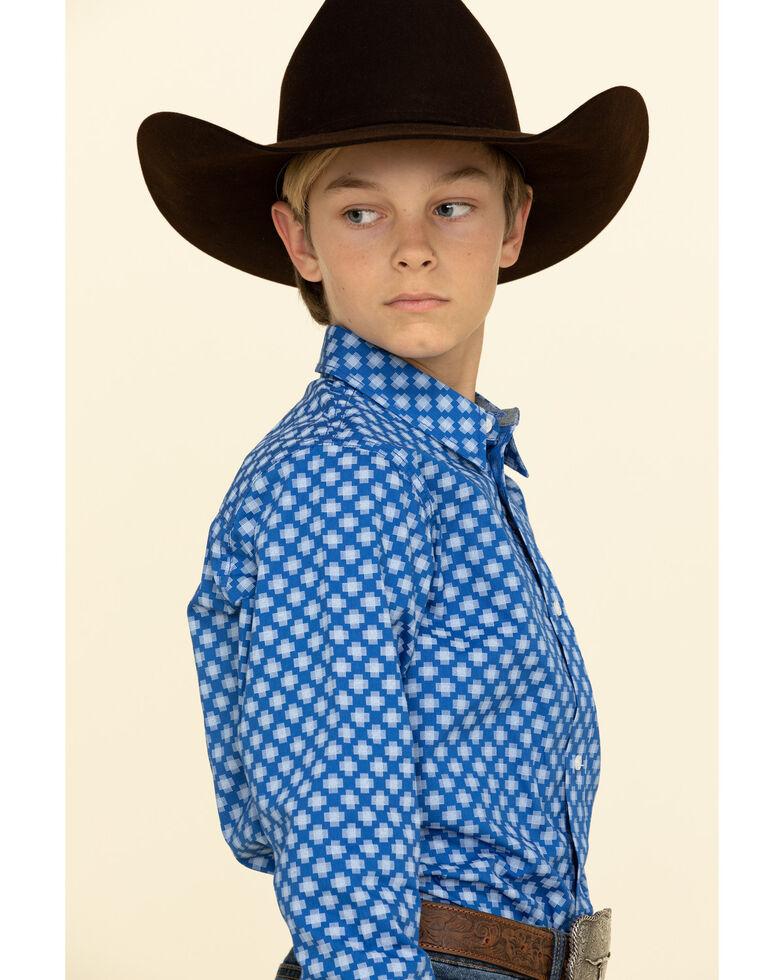 Cody James Boys' Astro Geo Print Button Long Sleeve Western Shirt , Royal Blue, hi-res