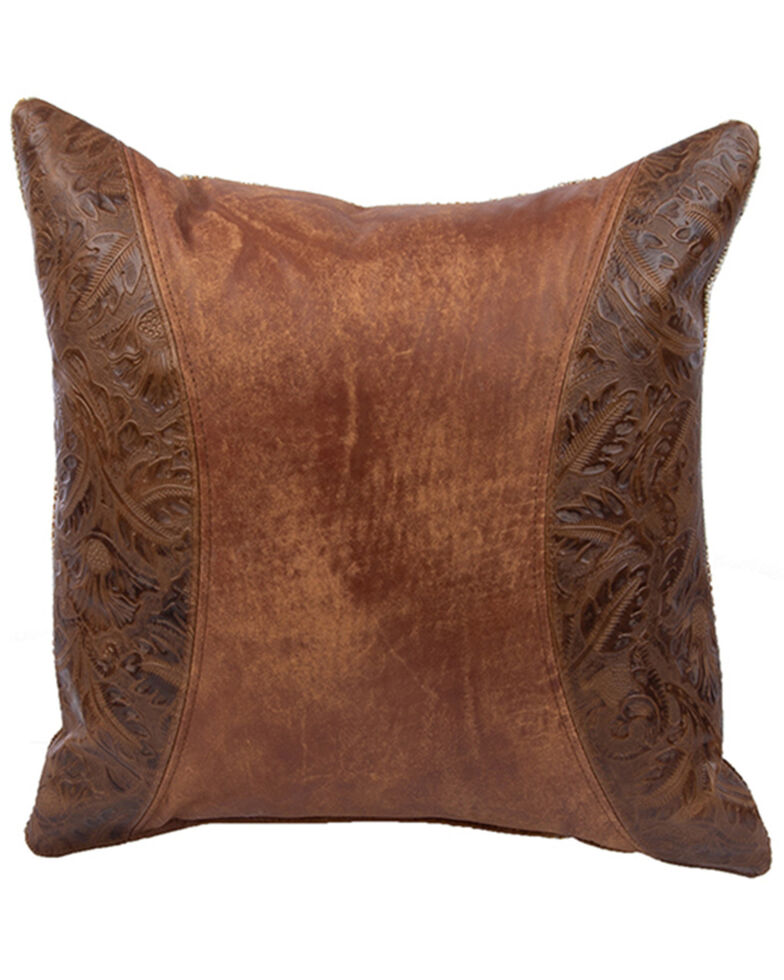 Carroll Co. Outlaw Rawhide Leather Pillow, Tan, hi-res