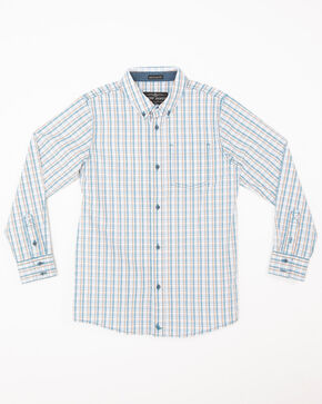 Cody James Boys' Galena Print One Pocket Long Sleeve Western Shirt , Blue, hi-res