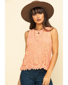 Rock & Roll Cowgirl Women's Peach Lace Sleeveless Top , Peach, hi-res