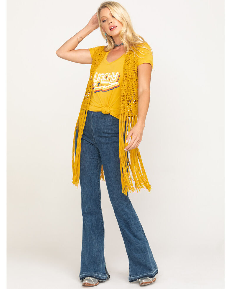 Rock & Roll Denim Women's Mustard Crochet Long Fringe Vest, Dark Yellow, hi-res