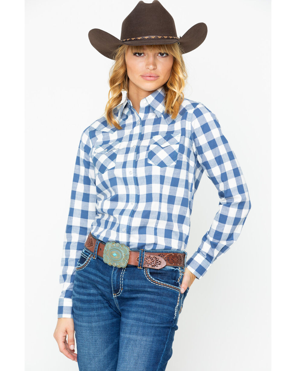 Wrangler Women's Blue Plaid Snap Long Sleeve Western Shirt , Blue, hi-res