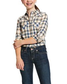 Ariat Girls' Orange Pastel Plaid Long Sleeve Western Shirt, Orange, hi-res