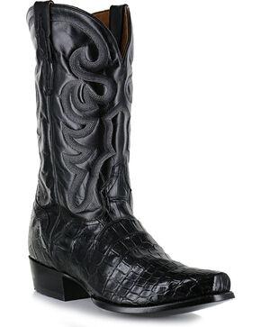 El Dorado Men's Alligator Belly Exotic Boots, Black, hi-res