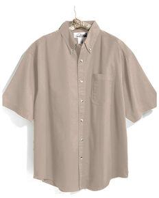 Tri-Mountain Men's Khaki 2X Solid Recruit Short Sleeve Work Shirt - Tall, Beige/khaki, hi-res