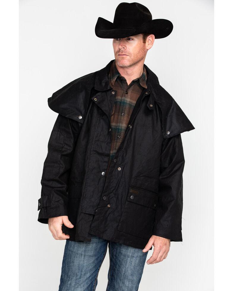 Outback Unisex Short Oilskin Jacket, Black, hi-res