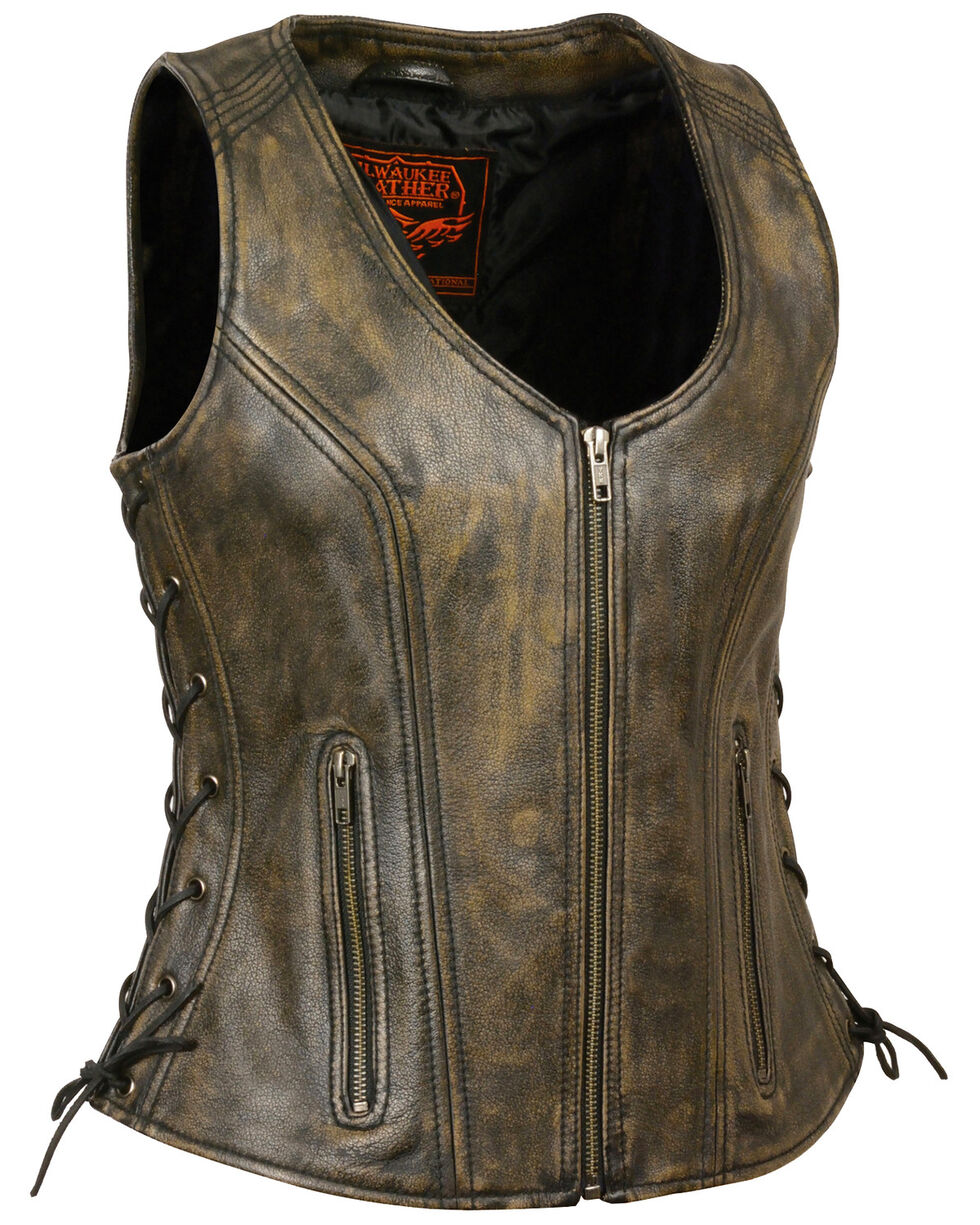 Milwaukee Leather Women's Open Neck Side Lace Zipper Front Vest, Black/tan, hi-res