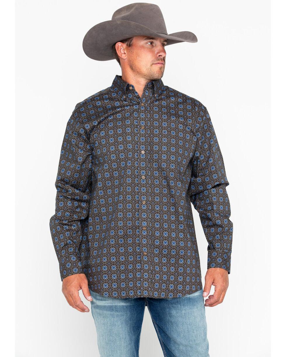 Tuf Cooper Men's Poplin Print Long Sleeve Western Shirt , Grey, hi-res