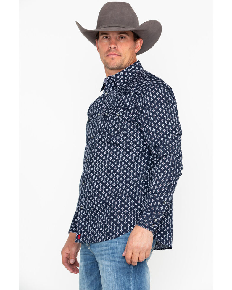 Moonshine Spirit Men's Inka Geo Print Long Sleeve Western Shirt, Navy, hi-res