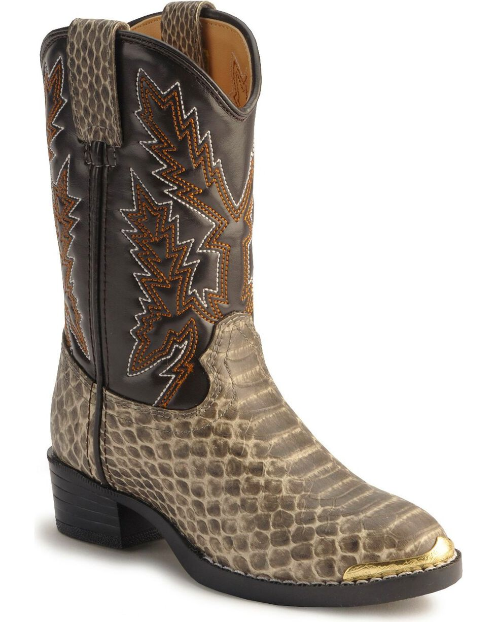 Durango Children's Snake Print Western Boots, Natural, hi-res