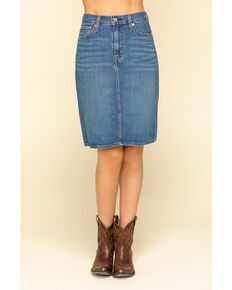 Levi's Women's Medium Wash Classic Denim Skirt , Blue, hi-res