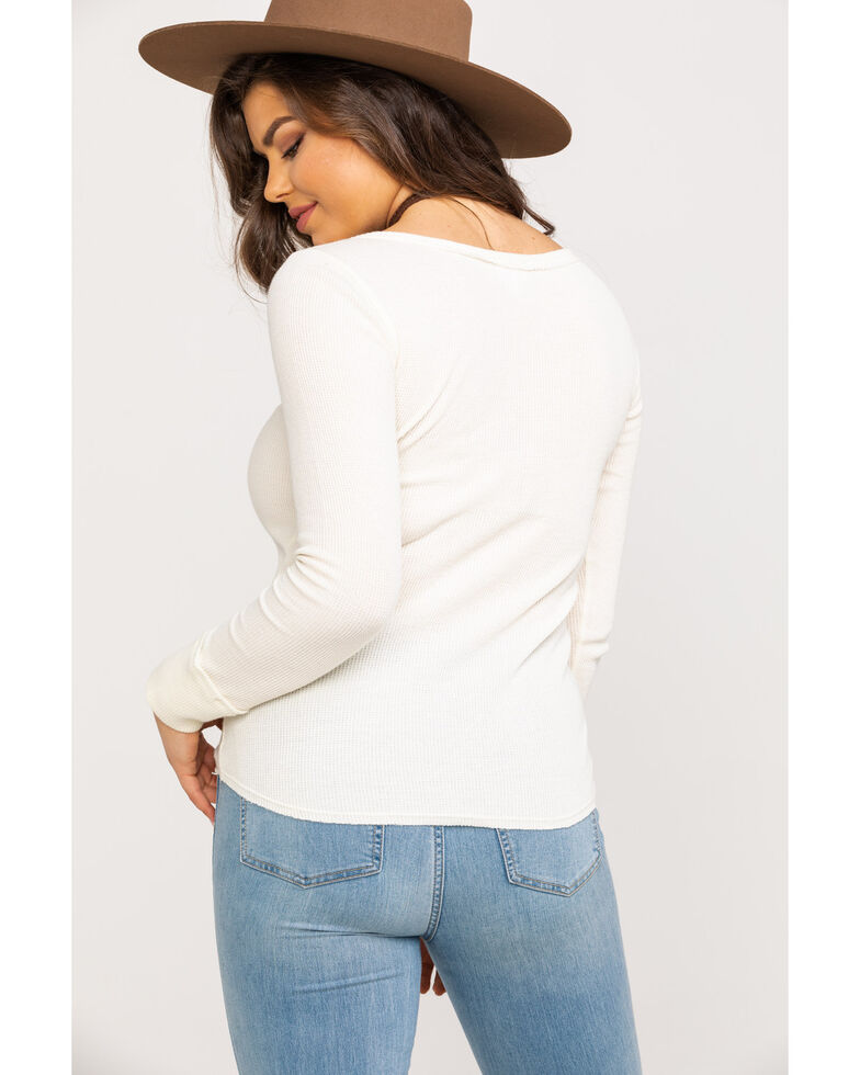 Shyanne Women's Ivory Embroidered Waffle Knit Top, Ivory, hi-res