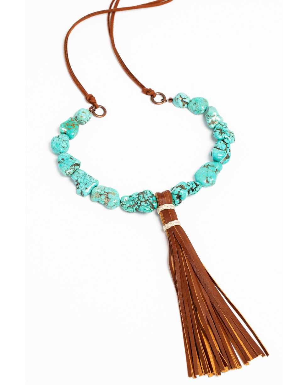 Jewelry Junkie Women's Turquoise Chunk Necklace , Turquoise, hi-res