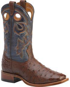 """Boulet Men's Exotic 12"""" Ostrich Boots, Cigar, hi-res"""