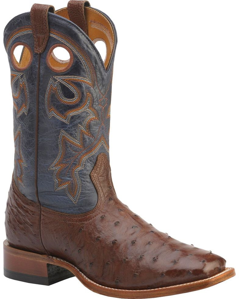 "Boulet Men's Exotic 12"" Ostrich Boots, Cigar, hi-res"