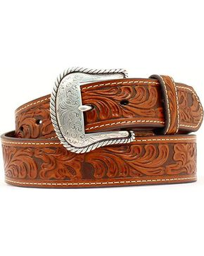 Nocona Floral Embossed Leather Belt, Tan, hi-res