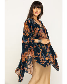Angie Women's Blue Floral Velvet Burnout Kimono, Blue, hi-res